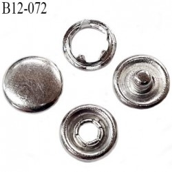 Bouton 12 mm pression tête plate à griffe métal chromé tête bombé 5 griffes diamètre 12 mm ensemble de 4 pièces par bouton