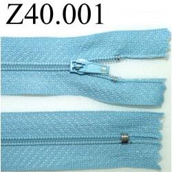 fermeture éclair  longueur 40 cm couleur bleu non séparable zip nylon largeur 2,5 cm