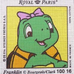 Canevas à broder ENFANT 15 x 15 cm marque ROYAL PARIS HARIETTE la petite soeur de Franklin fabrication française