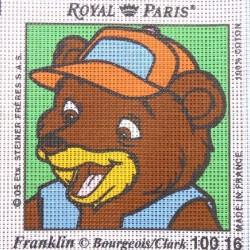 Canevas à broder ENFANT 15 x 15 cm marque ROYAL PARIS FRANKLIN MARTIN L'OURSON fabrication française