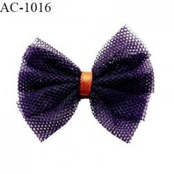 Noeud lingerie haut de gamme couleur aubergine et rouille largeur 45 mm hauteur 40 mm prix à la pièce