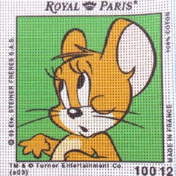 Canevas à broder ENFANT 15 x 15 cm marque ROYAL PARIS TOM ET JERRY fabrication française