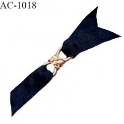 Noeud lingerie haut de gamme boucle métal couleur doré et pans satin couleur caviar largeur 70 mm hauteur 12 mm prix à la pièce