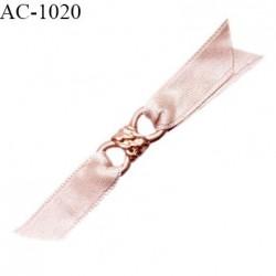 Noeud lingerie haut de gamme boucle métal couleur doré et pans satin couleur chair rosé prix à la pièce