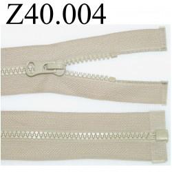 fermeture éclair  longueur 40 cm couleur beige non séparable zip nylon largeur 2,5 cm