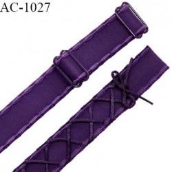 Bretelle lingerie SG 24 mm très haut de gamme couleur aubergine (chianti) laçage queue de souris longueur 32 cm prix à l'unité