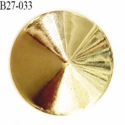 Bouton 27 mm pvc forme de pointe diamant brillant doré accroche un anneau diamètre 27 millimètres