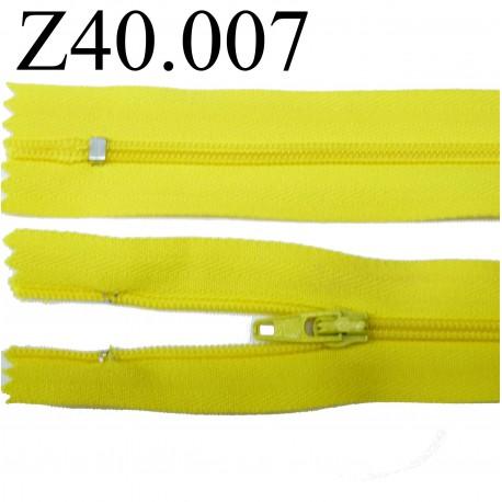 fermeture éclair longueur 40 cm couleur jaune séparable zip nylon largeur 2.5 cm