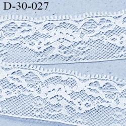 Dentelle 30 mm synthétique non extensible couleur blanc largeur 30 mm prix au mètre