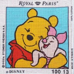 Canevas à broder ENFANT 15 x 15 cm marque ROYAL PARIS thème WINNIE L'OURSON PORCINET fabrication française