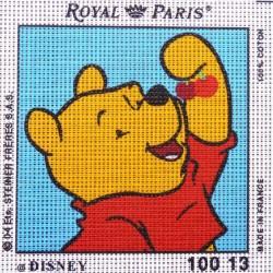 Canevas à broder ENFANT 15 x 15 cm marque ROYAL PARIS thème WINNIE L'OURSON ET LES CERISES fabrication française