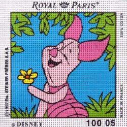 Canevas à broder ENFANT 15 x 15 cm DISNEY marque ROYAL PARIS thème WINNIE L'OURSON PORCINET fabrication française