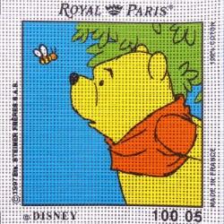 Canevas à broder ENFANT 15 x 15 cm DISNEY marque ROYAL PARIS thème WINNIE L'OURSON ET L'ABEILLE fabrication française