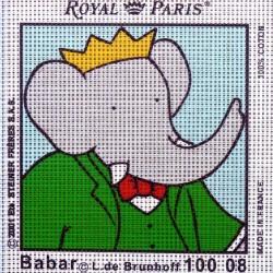 Canevas à broder ENFANT 15 x 15 cm marque ROYAL PARIS BABAR ROI fabrication française