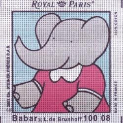 Canevas à broder ENFANT 15 x 15 cm marque ROYAL PARIS BABAR ENFANT fabrication française