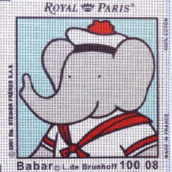 Canevas à broder ENFANT 15 x 15 cm marque ROYAL PARIS BABAR MARIN fabrication française