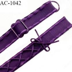 Bretelle lingerie SG 18 mm très haut de gamme couleur chianti aubergine laçage queue de souris longueur 37 cm prix à l'unité