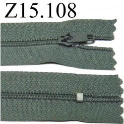 fermeture éclair grise longueur 15 cm couleur gris non séparable zip nylon largeur 2.5 cm