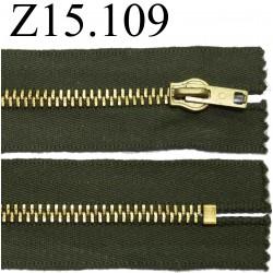 fermeture éclair longueur 15 cm couleur vert kaki non séparable zip métal largeur 3.5 cm largeur du zip 6 mm