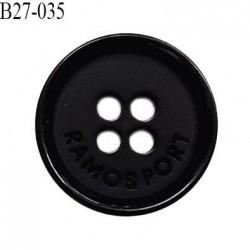 Bouton 27 mm en pvc couleur noir inscription Ramosport diamètre 27 mm épaisseur 3 mm prix à l'unité