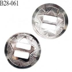 Bouton 28 mm en métal forme concave couleur chrome 2 trous diamètre 28 mm prix à l'unité