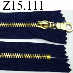 fermeture éclair longueur 15 cm couleur bleu non séparable zip métal largeur 3.2 cm largeur du zip 5 mm