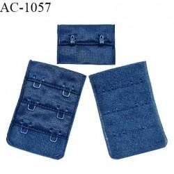 Agrafe 38 mm attache SG haut de gamme couleur bleu paradis 3 rangées 2 crochets largeur 38 mm fabriqué en France prix à l'unité