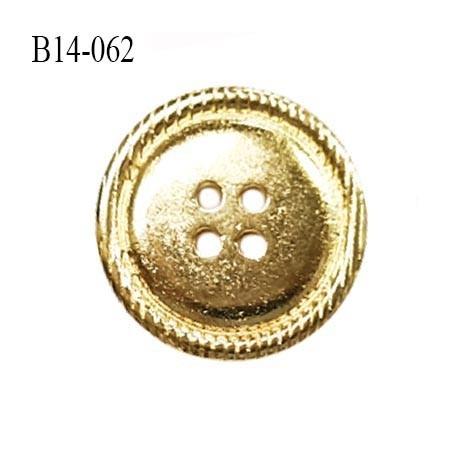 Bouton 14 mm en métal couleur or 4 trous diamètre 14 mm épaisseur 2.5 mm prix à l'unité