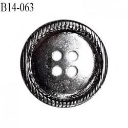 Bouton 14 mm en métal couleur chrome 4 trous diamètre 14 mm épaisseur 2.5 mm prix à l'unité
