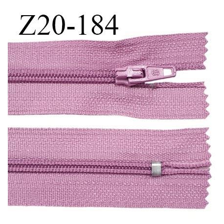 Fermeture zip 20 cm non séparable couleur lilas zip glissière nylon invisible largeur 5 mm prix à l'unité