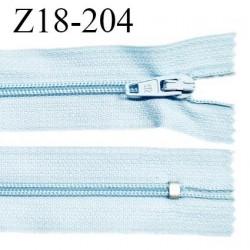 Fermeture zip 18 cm non séparable couleur bleu clair largeur 2.7 cm zip nylon longueur 18 cm prix à l'unité