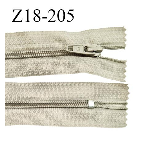 Fermeture zip 18 cm non séparable couleur beige clair largeur 2.7 cm zip nylon longueur 18 cm prix à l'unité