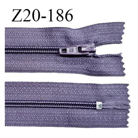 Fermeture zip 20 cm non séparable couleur mauve zip glissière nylon invisible largeur 5 mm longueur 20 cm prix à l'unité