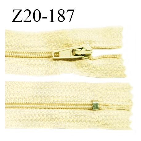 Fermeture zip 20 cm non séparable couleur jaune pastel zip glissière nylon invisible largeur 5 mm longueur 20 cm prix à l'unité