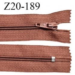 Fermeture zip 20 cm non séparable couleur terracotta zip glissière nylon invisible largeur 5 mm longueur 20 cm prix à l'unité