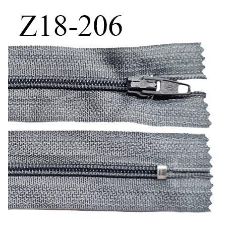 Fermeture zip 18 cm non séparable couleur gris zip glissière nylon invisible largeur 5 mm longueur 18 cm prix à l'unité