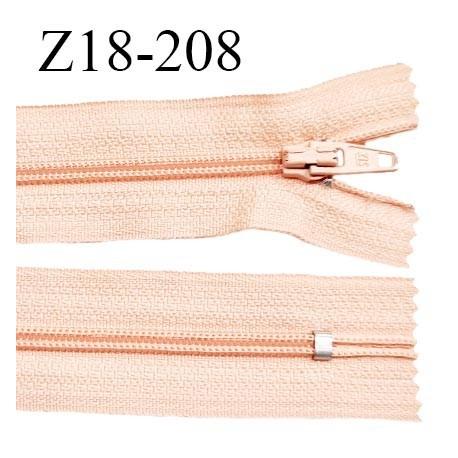 Fermeture zip 18 cm non séparable couleur saumon clair zip glissière nylon invisible largeur 5 mm longueur 18 cm prix à l'unité