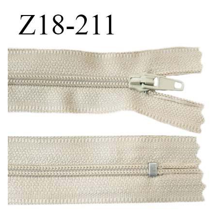 Fermeture zip 11 cm non séparable couleur beige largeur 2.7 cm zip nylon longueur 18 cm prix à l'unité
