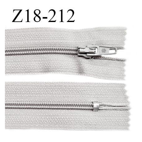 Fermeture zip 18 cm non séparable couleur gris perle largeur 2.7 cm zip nylon longueur 18 cm prix à l'unité