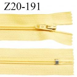Fermeture zip 20 cm non séparable couleur jaune poussin zip glissière nylon invisible largeur 5 mm longueur 20 cm prix à l'unité