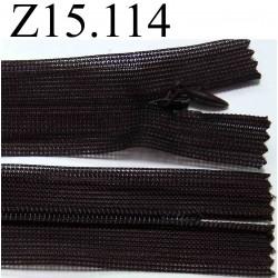 fermeture éclair invisible longueur 15 cm couleur marron  non séparable zip nylon largeur 2.5 cm