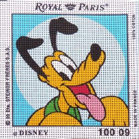 Canevas à broder ENFANT 15 x 15 cm DISNEY marque ROYAL PARIS thème MICKEY PLUTO made in France