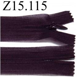 fermeture éclair invisible longueur 15 cm couleur prune  non séparable zip nylon largeur 2.5 cm