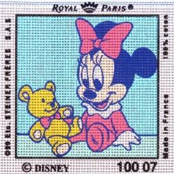 Canevas à broder ENFANT 15 x 15 cm DISNEY marque ROYAL PARIS thème MICKEY MINNIE BEBE made in France