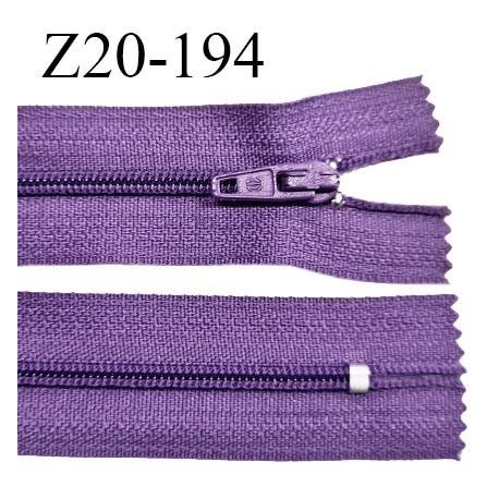 Fermeture zip 20 cm non séparable couleur violet zip glissière nylon invisible largeur 5 mm longueur 20 cm prix à l'unité
