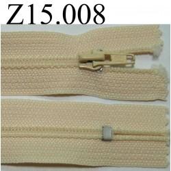 fermeture éclair longueur 15 cm  couleur beige clair non séparable zip nylon