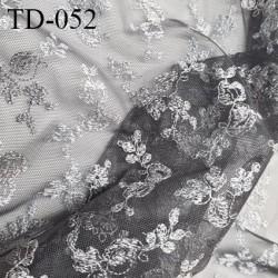 Tissu dentelle brodée sur tulle couleur gris haut de gamme largeur 130 cm prix pour 10 cm de longueur