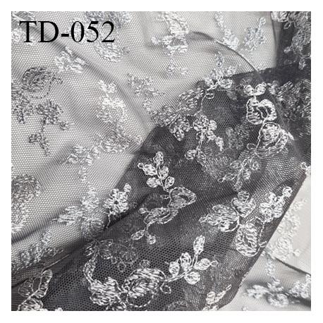 Tissu dentelle brodée sur tulle couleur gris haut de gamme largeur cm prix pour 10 cm de longueur