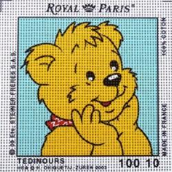 Canevas à broder ENFANT 15 x 15 cm marque ROYAL PARIS thème TEDINOURS REVEUR fabrication française