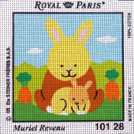 Canevas à broder ENFANT 15 x 15 cm marque ROYAL PARIS thème de Muriel Revenu le lapin fabrication française